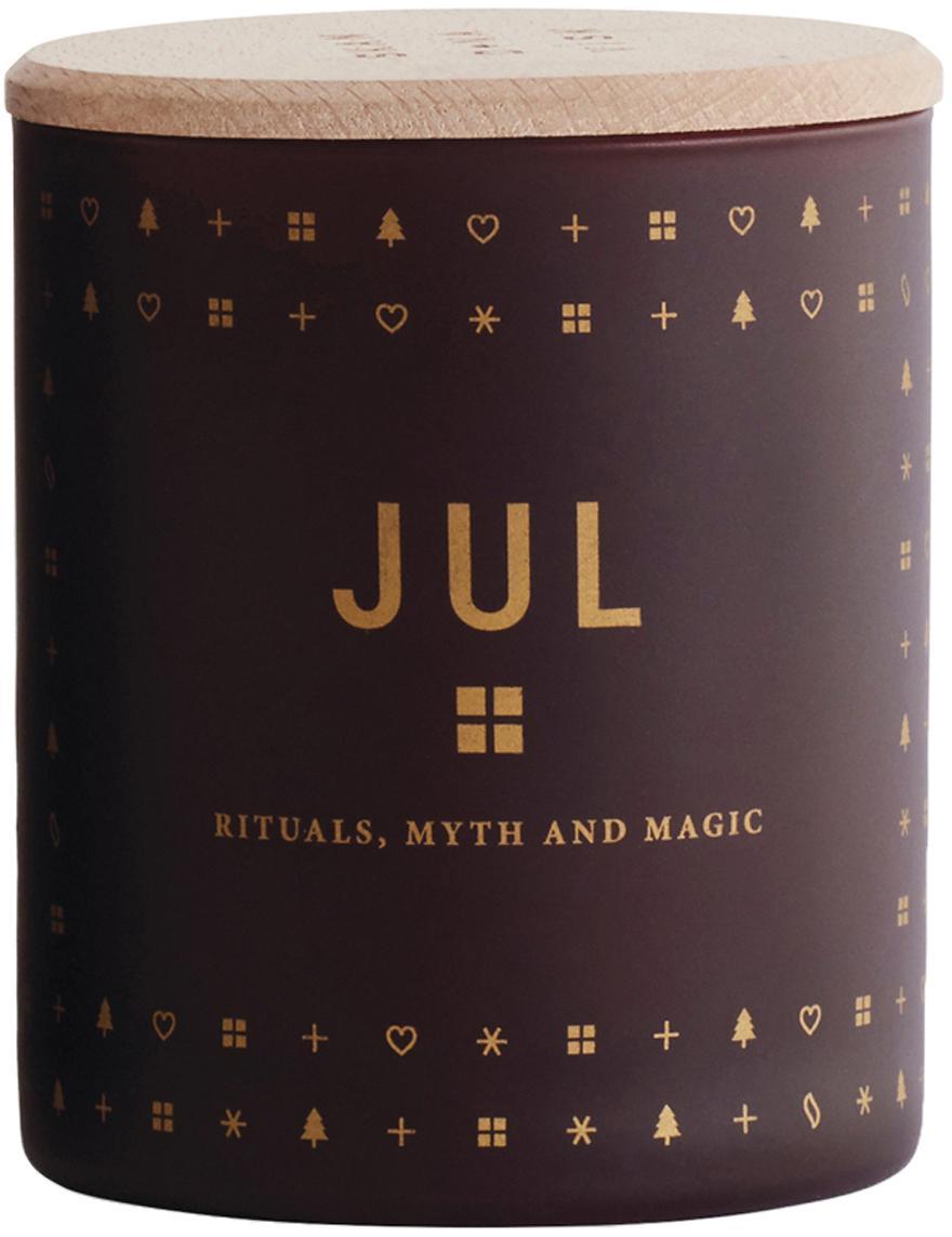Duftkerze Jul (Lebkuchen, Honig & Nelken), Behälter: Glas, Deckel: Buchenholz, Burgunderrot Deckel: Buchenholz, Ø 8 x H 9 cm