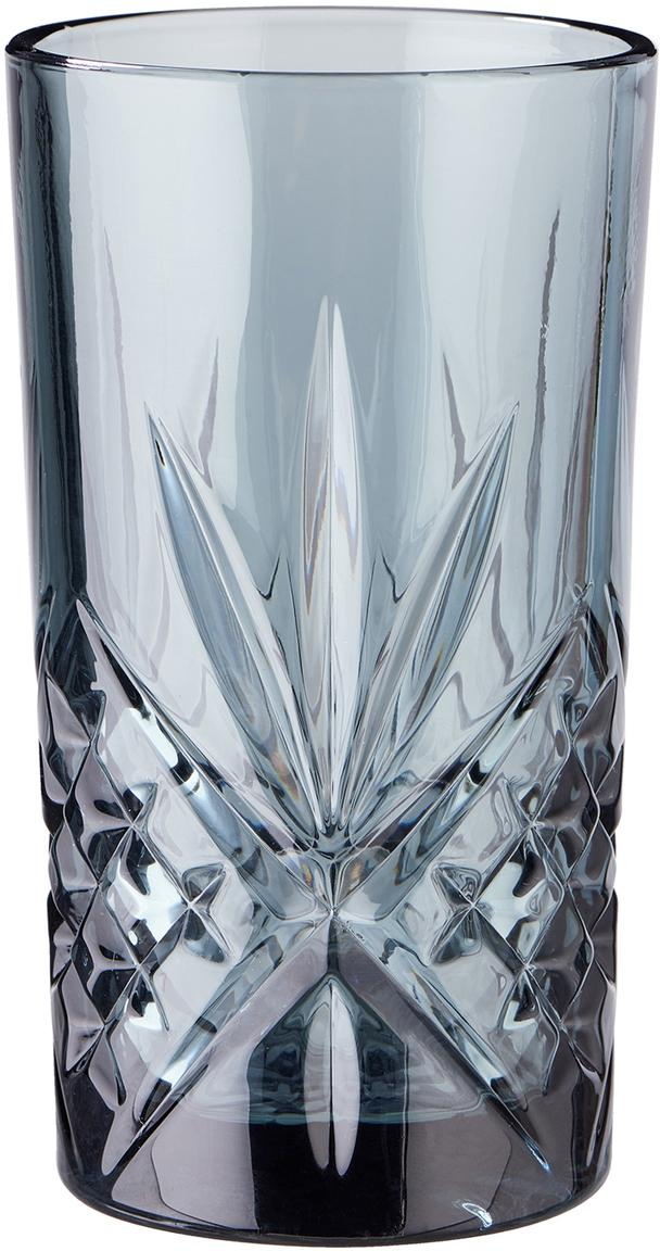 Longdrinkgläser Crystal Club mit Kristallrelief, 4er-Set, Glas, Grau, Ø 8 x H 14 cm