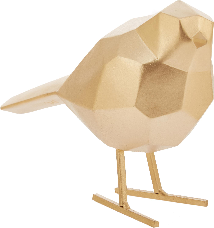 Oggetto decorativo Bird, Poliresina, Dorato, Larg. 17 x Alt. 14 cm