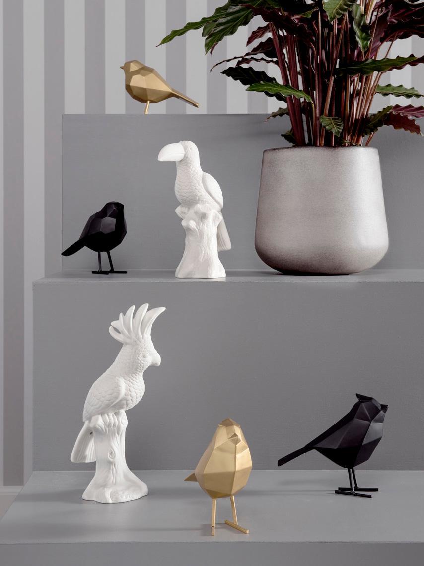 Decoratief object Bird, Polyresin, Goudkleurig, 17 x 14 cm