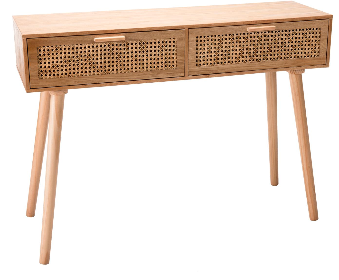 Consolle in legno con cassetti in vimini Romeo, Pannello di fibra a media densità (MDF), con finitura in frassino, Legno di frassino, Larg. 110 x Alt. 82 cm