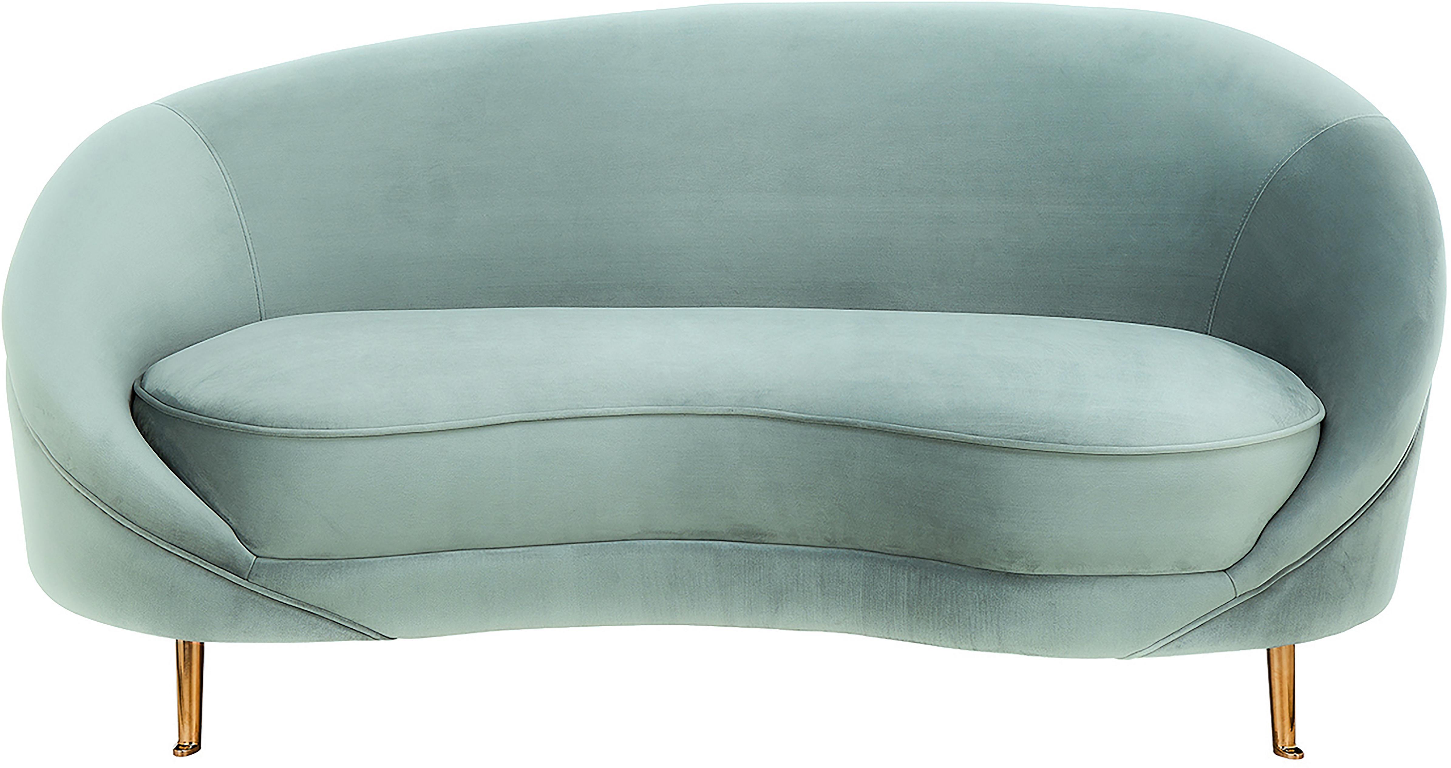 Samt-Nierensofa Gatsby (2-Sitzer), Bezug: Samt (Polyester) 25.000 S, Gestell: Massives Eukalyptusholz, Füße: Metall, galvanisiert, Samt Türkis, B 173 x T 87 cm