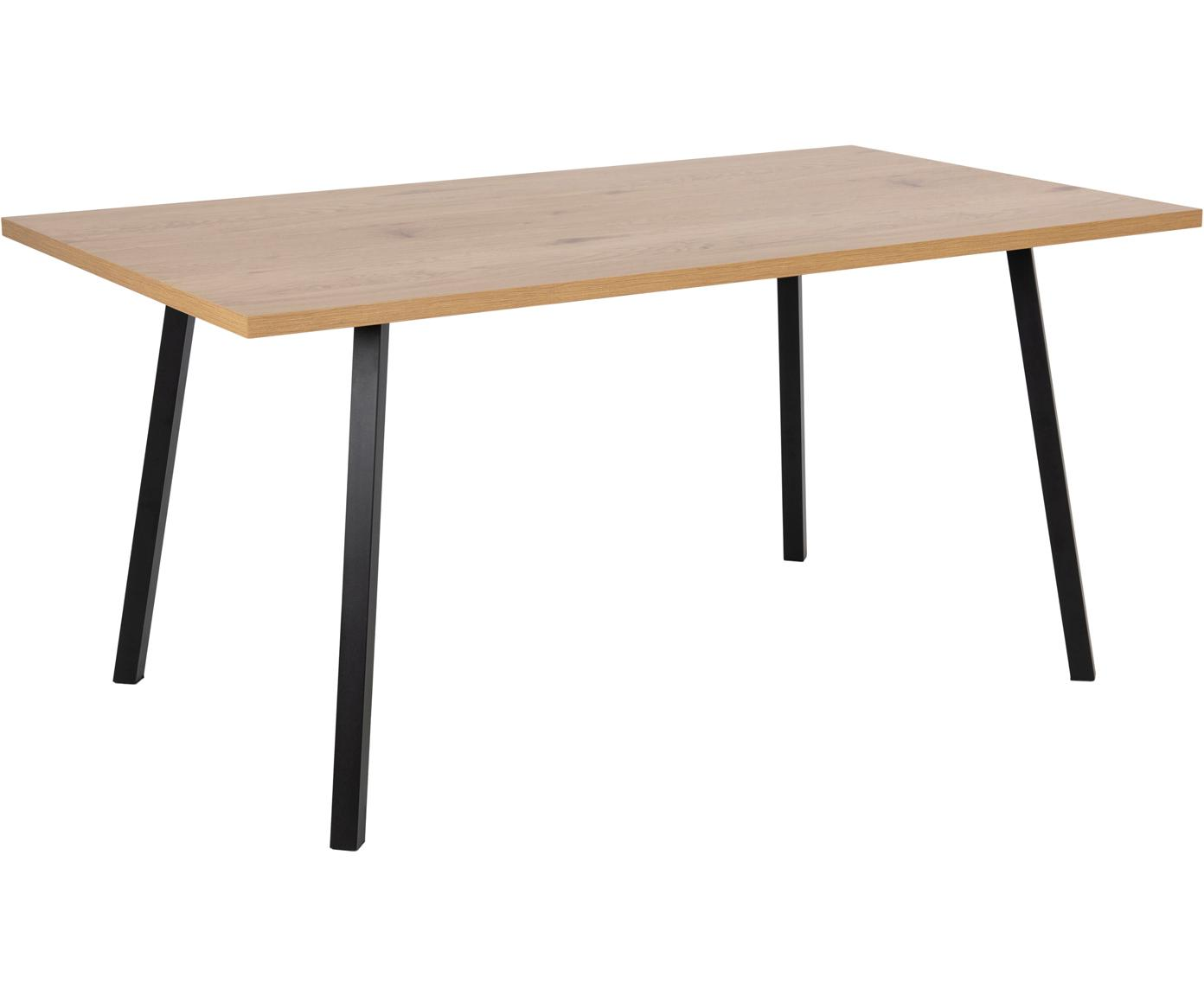 Tavolo con piano effetto quercia Cenny, Piano d'appoggio: pannello di fibra a media, Struttura: metallo verniciato a polv, Legno di quercia, nero, Larg. 160 x Prof. 90 cm