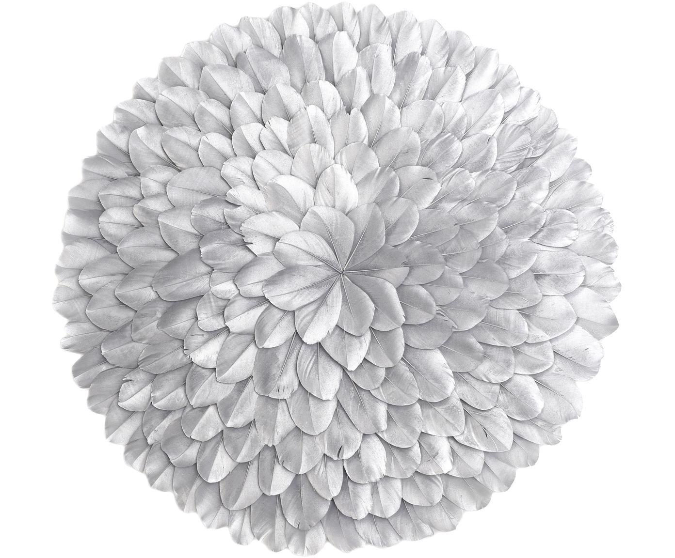 XL Wandobjekt Juju, Federn, gefärbt, Silberfarben, Ø 40 x T 5 cm