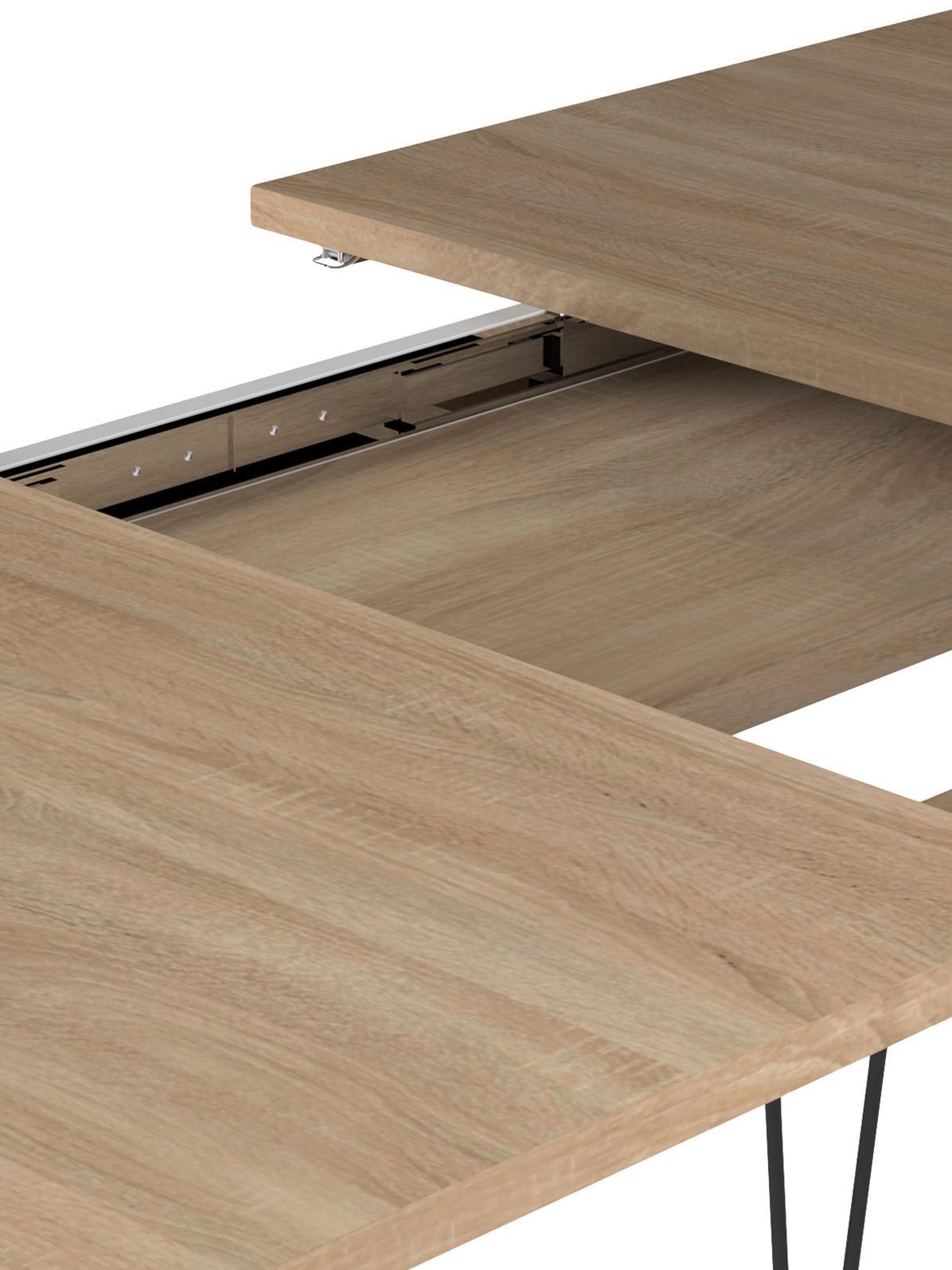 Tavolo allungabile Aero, Gambe: metallo verniciato, Legno di quercia, Larg. 134 a 174 x Prof. 90 cm