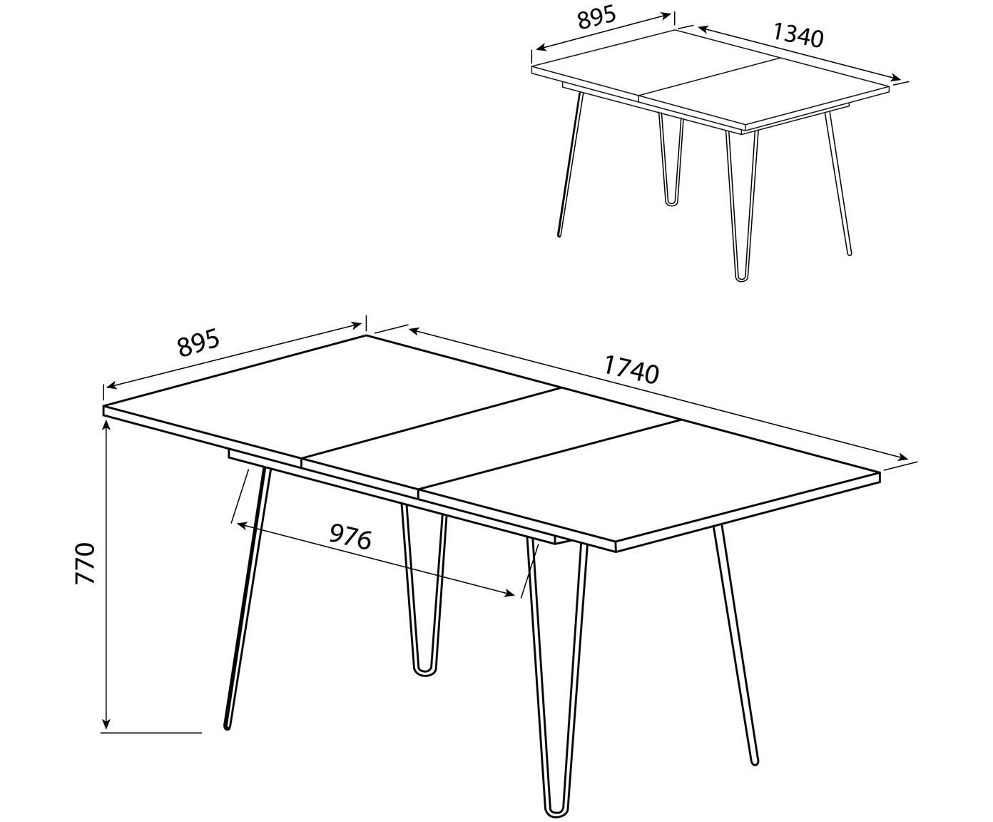 Table extensible avec pieds en métal Aero, Bois de chêne