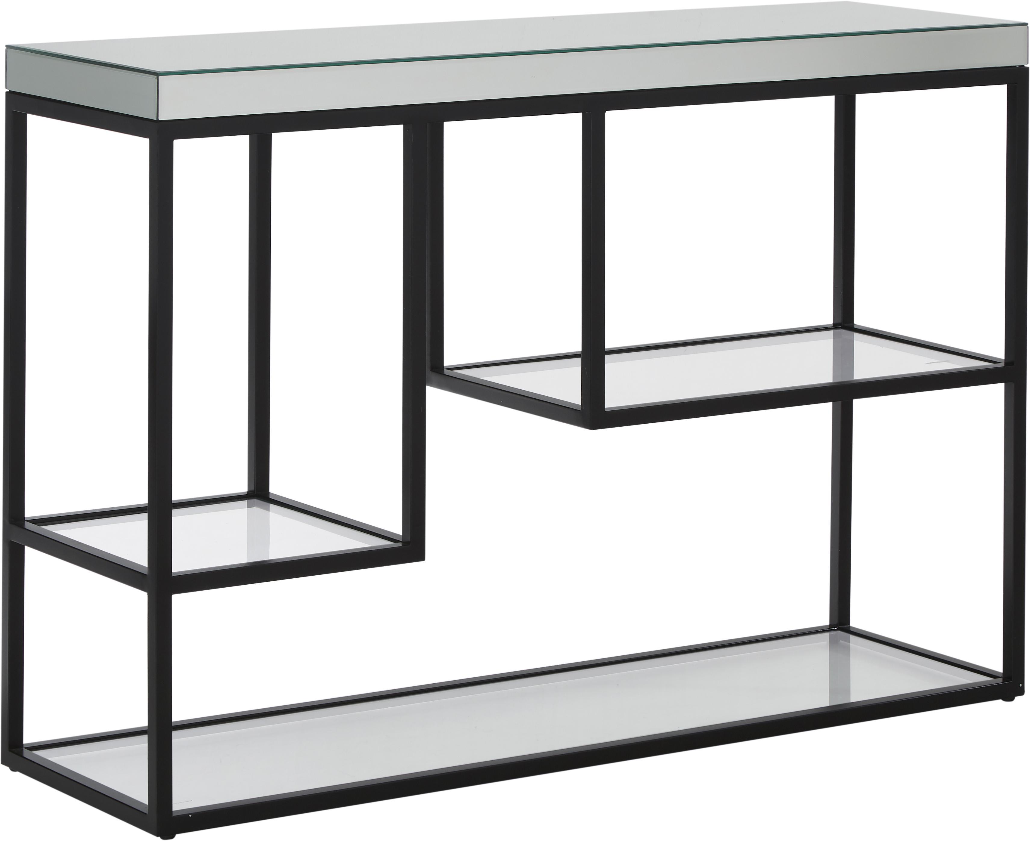 Konsola ze szklanym blatem i półkami Pippard, Stelaż: metal lakierowany, Czarny, transparentny, S 120 x W 82 cm