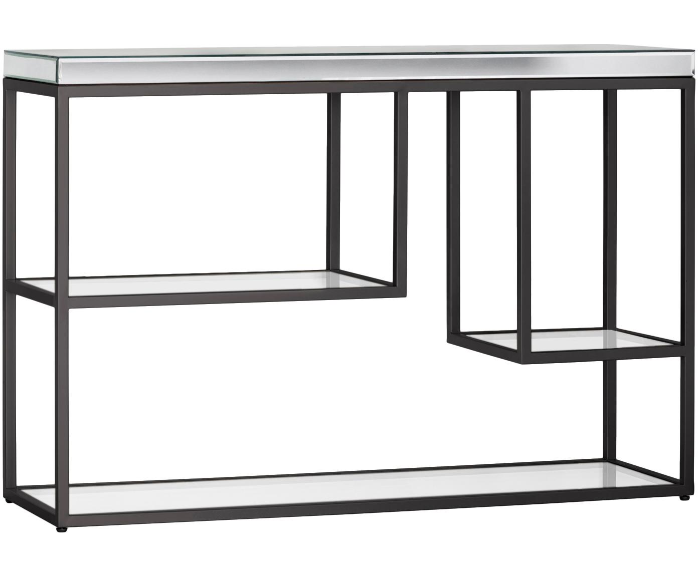 Consolle con piani in vetro Pippard, Struttura: metallo verniciato, Mensola: lastra di vetro, Nero trasparente, Larg. 120 x Prof. 36 cm