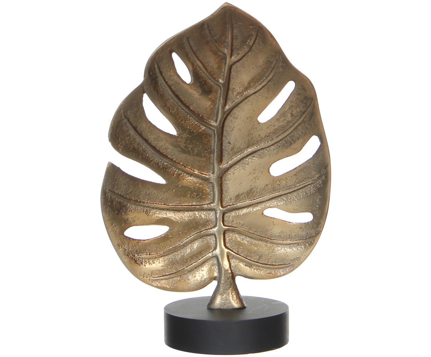 Deko-Objekt Blatt, Fuß: Aluminium, beschichtet, Deko-Objekt: GoldfarbenFuß: Schwarz, 19 x 25 cm