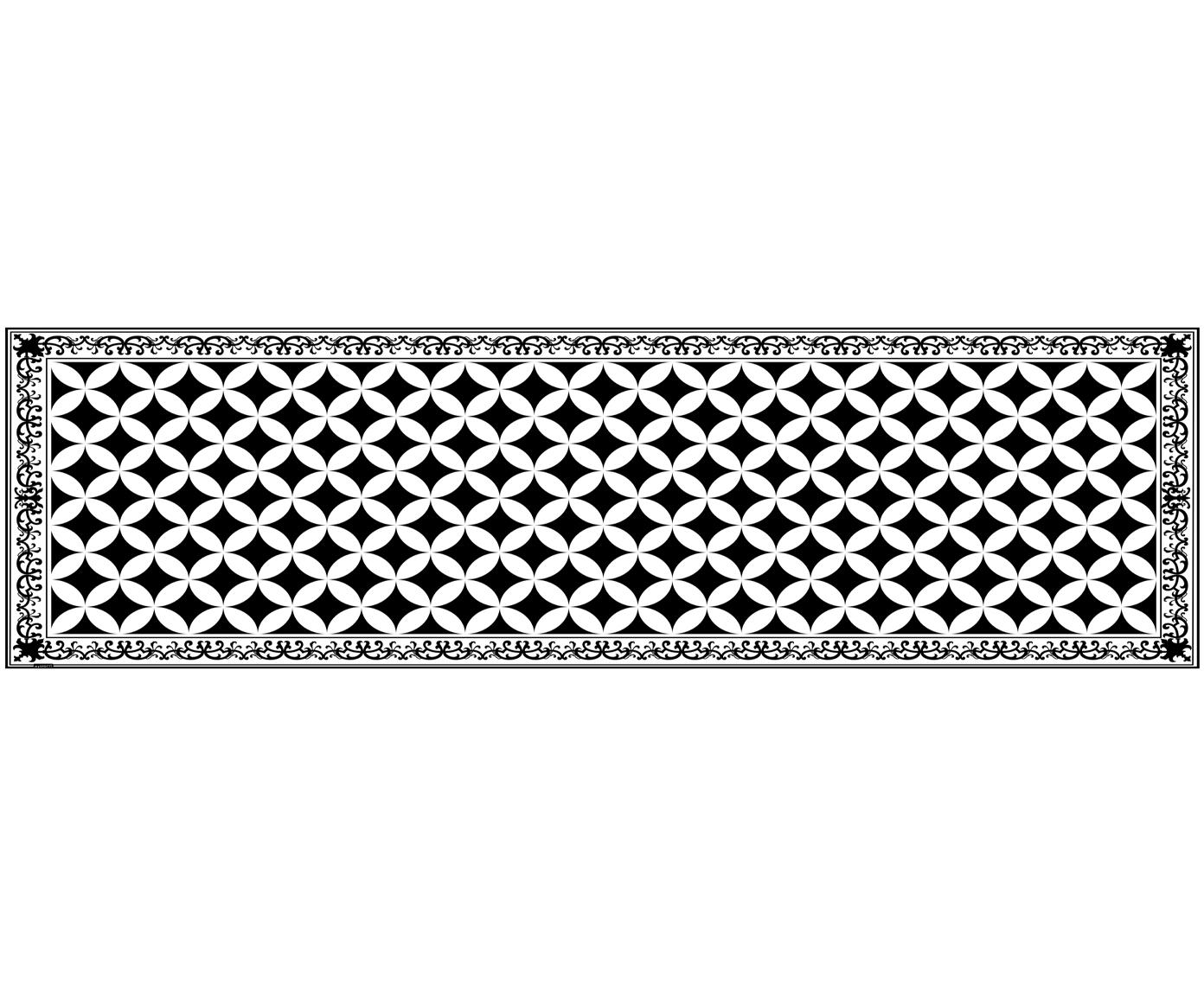 Mata podłogowa z winylu Chadi, Winyl, Czarny, biały, S 65 x D 255 cm