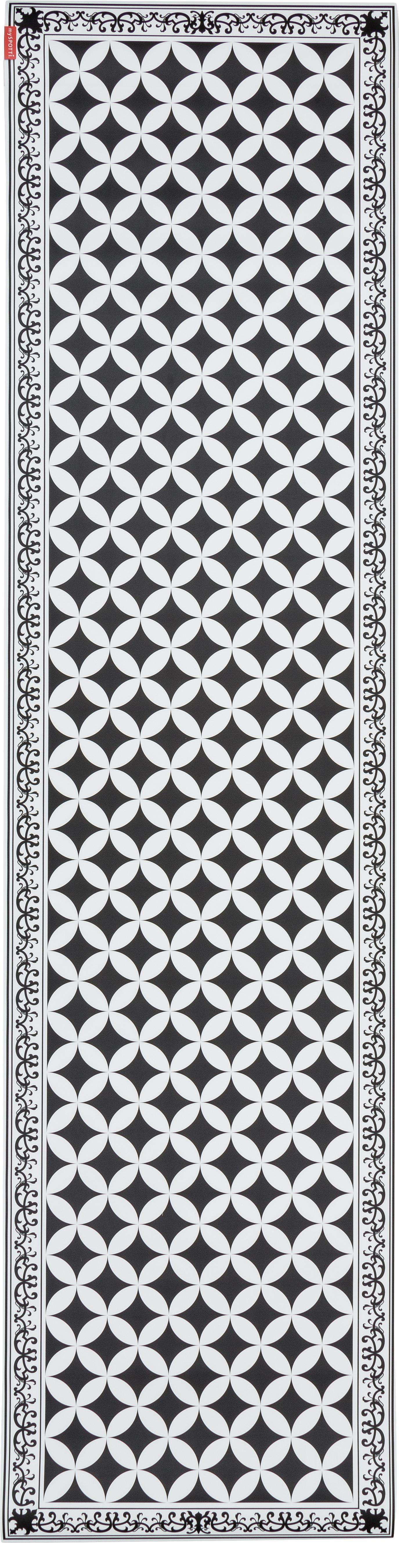 Vinyl-Bodenmatte Chadi, Vinyl, Schwarz, Weiß, 65 x 255 cm