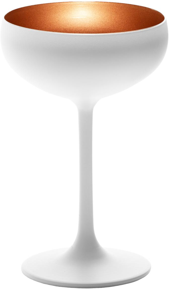 Kryształowy kieliszek do szampana Elements, 6 szt., Szkło kryształowe, powlekany, Biały, brązowy, Ø 10 x W 15 cm