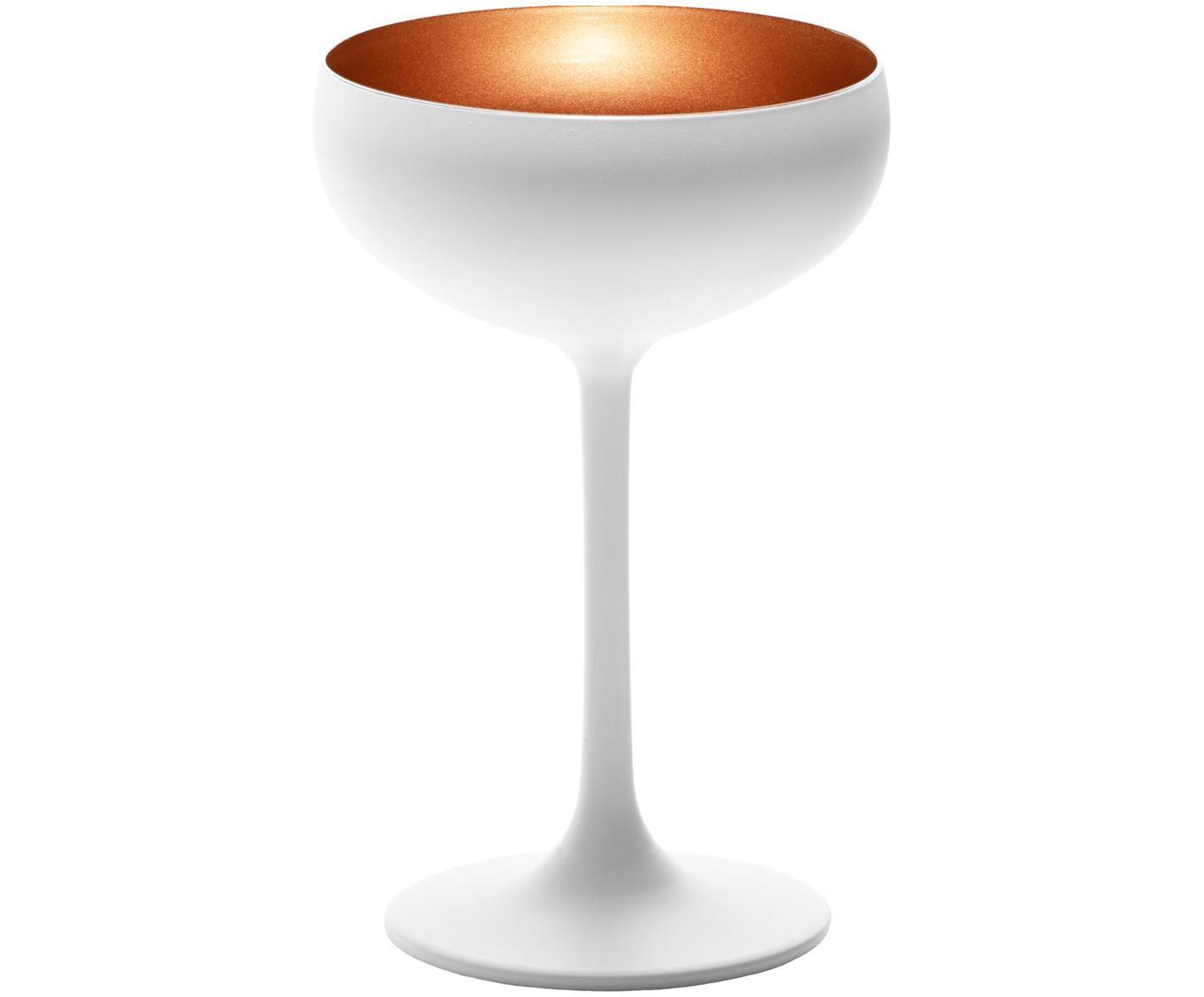 Kristall-Champagnerschalen Elements in Weiß/Kupfer, 6er-Set, Kristallglas, beschichtet, Weiß, Bronzefarben, Ø 10 x H 15 cm
