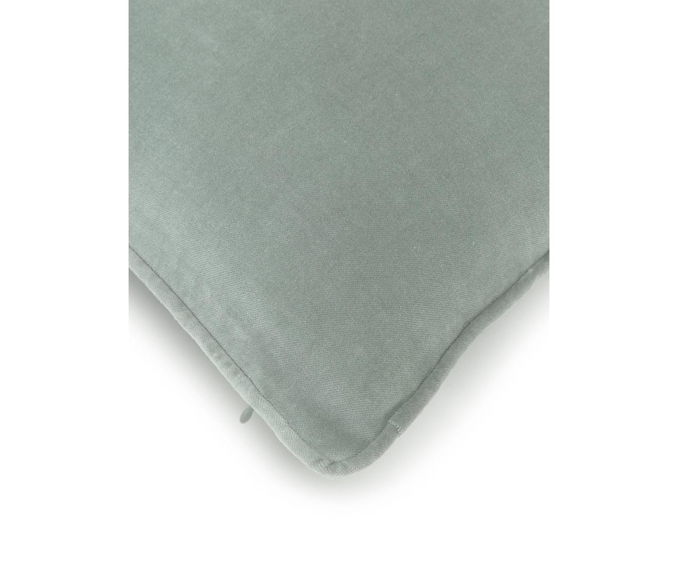 Poszewka na poduszkę z aksamitu Dana, Aksamit bawełniany, Szałwiowy zielony, S 50 x D 50 cm