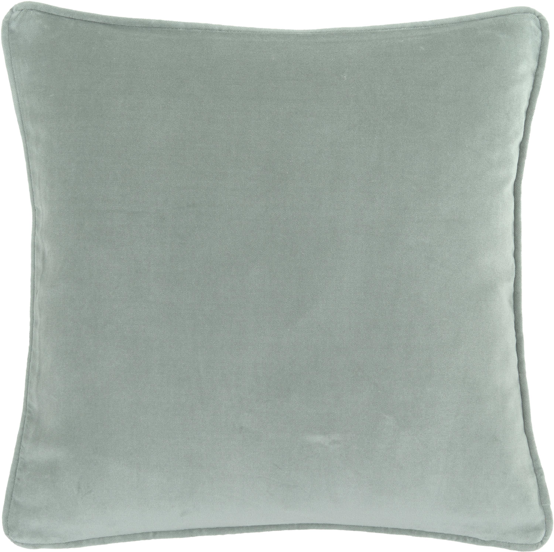 Federa arredo in velluto in verde salvia Dana, Velluto di cotone, Verde salvia, Larg. 40 x Lung. 40 cm