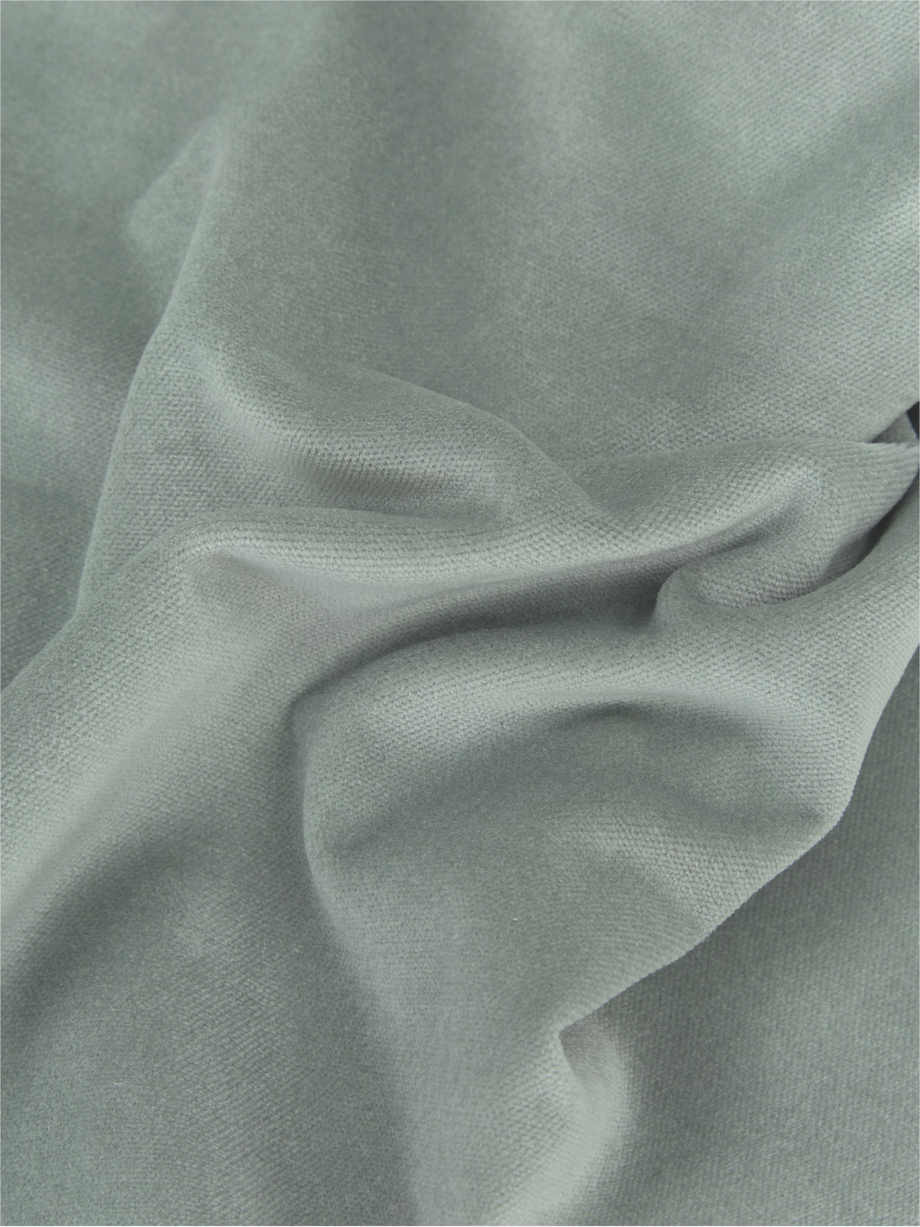 Effen fluwelen kussenhoes Dana in saliegroen, Katoenfluweel, Saliegroen, 40 x 40 cm