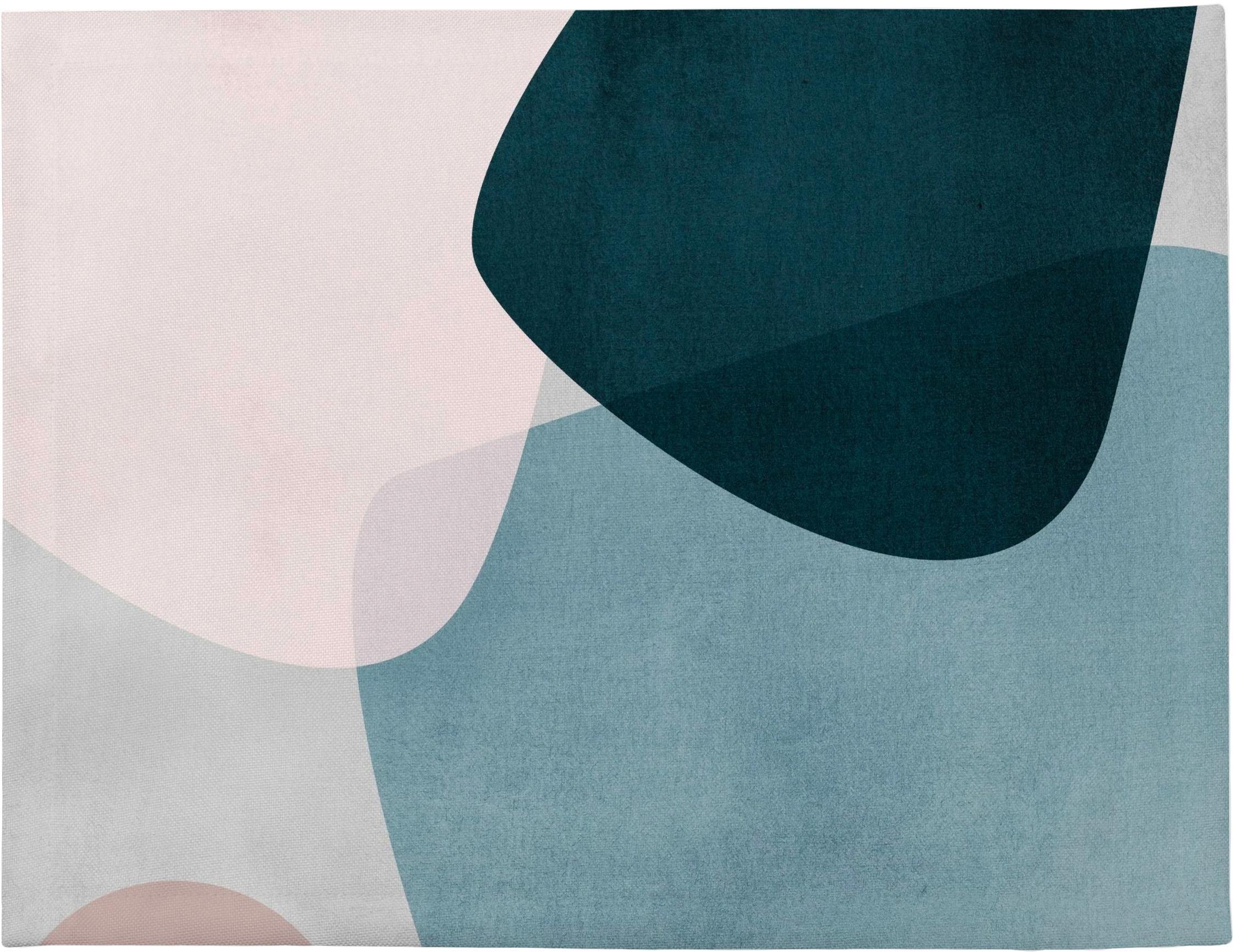 Placemats Graphic, 4 stuks, Polyester, Donkerblauw, blauw, grijs, roze, 35 x 45 cm