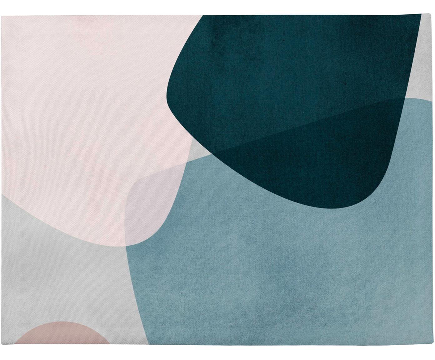 Manteles individuales Graphic, 4uds., Poliéster, Azul oscuro, azul, gris, rosa, An 35 x L 45 cm