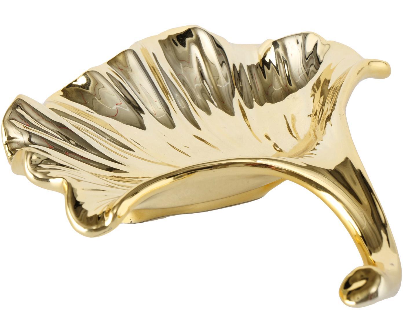 Miska dekoracyjna Ginkgo, Dolomit, Odcienie mosiądzu, S 18 x G 16 cm