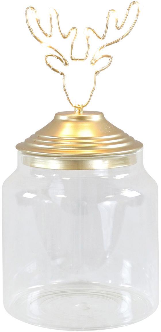 LED Aufbewahrungsdose Deer, Dose: Glas, Deckel: Metall, beschichtet, Transparent, Goldfarben, Ø 15 x H 20 cm
