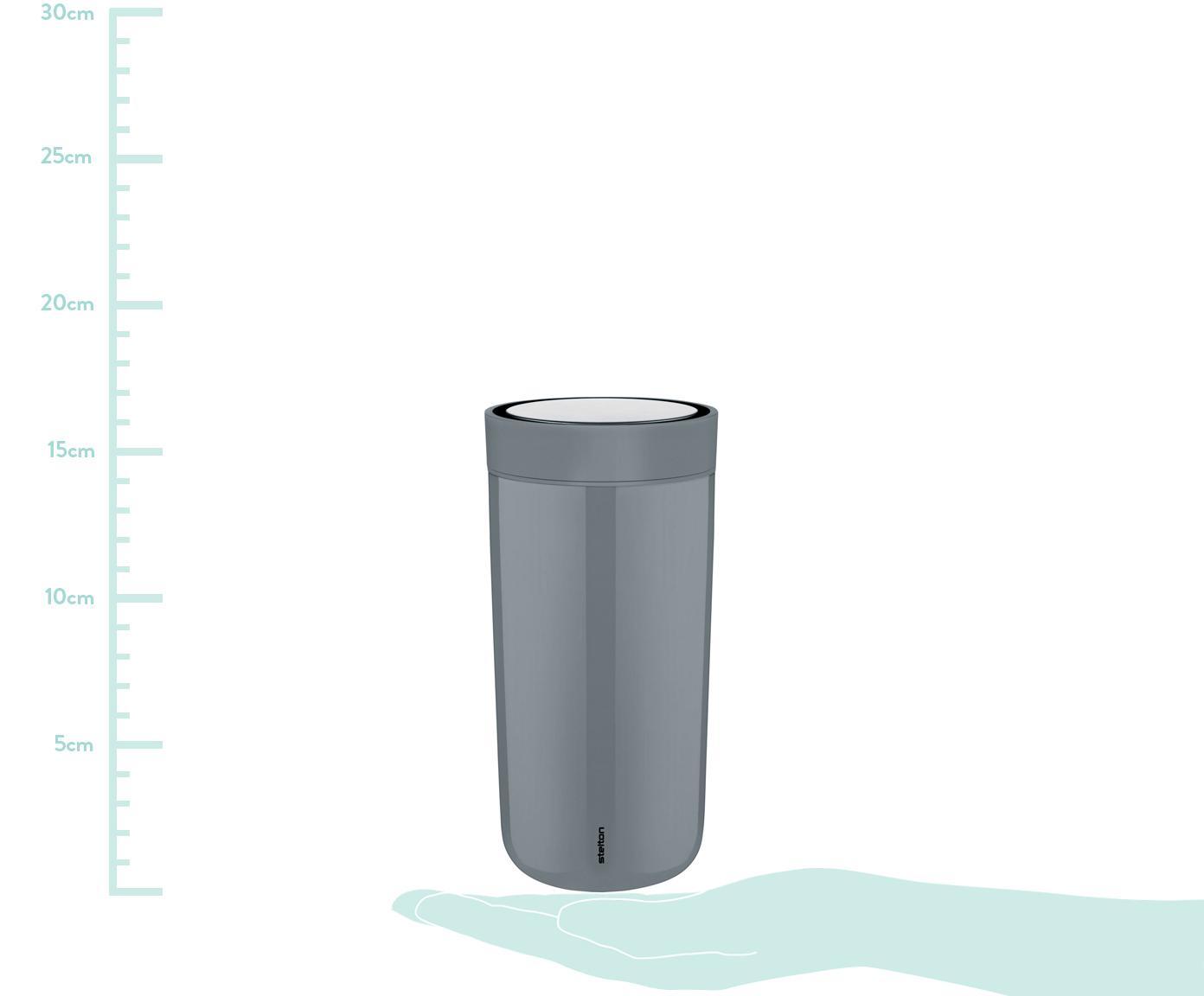 Thermobecher Click in Grau, glänzend, Becher: Edelstahl, beschichtet, Deckel: Kunststoff, Grau, Ø 8 x H 17 cm