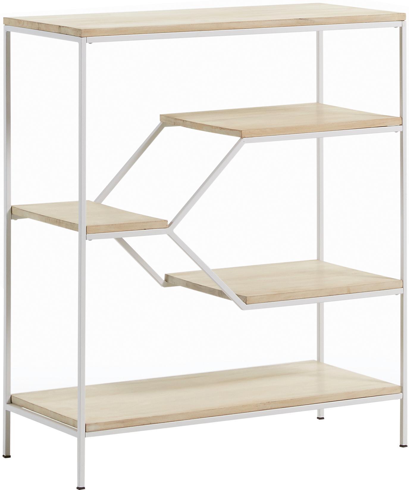 Scaffale basso in legno e metallo Push, Struttura: metallo verniciato, Ripiani: legno di mango massiccio, Bianco, marrone, Larg. 80 x Alt. 94 cm
