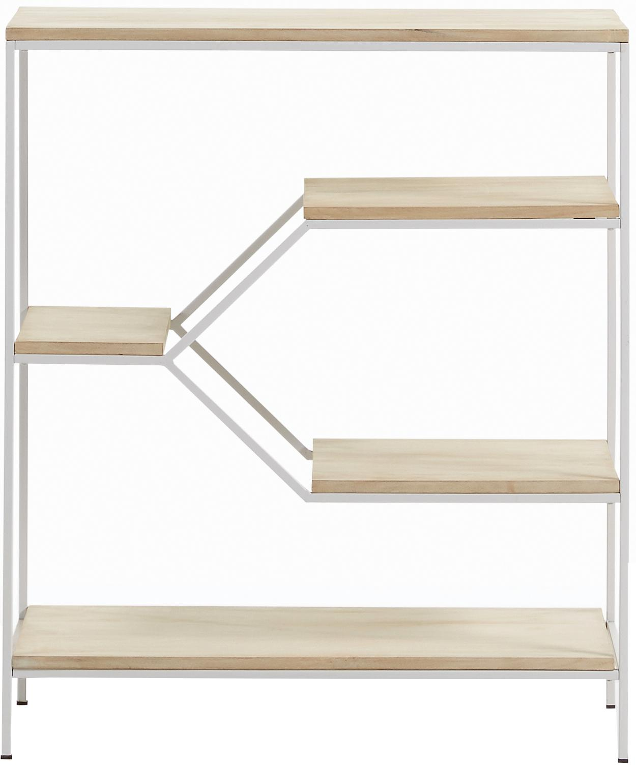Niedriges Standregal Push aus Holz und Metall, Gestell: Metall, lackiert, Weiß, Braun, 80 x 94 cm