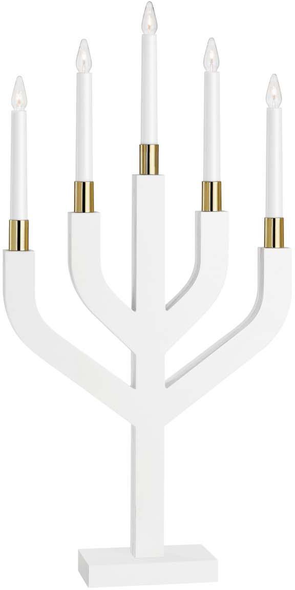 Candelabro natalizio elettrico in legno Morris, Struttura: legno, verniciato, Bianco, ottonato, Larg. 31 x Alt. 63 cm