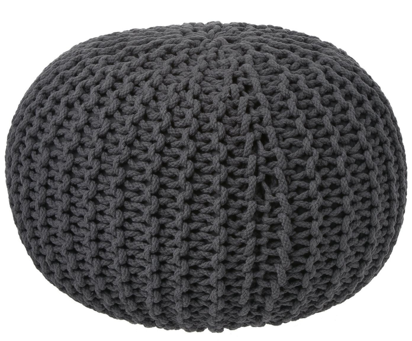 Handgefertigter Strickpouf Dori, Bezug: 100% Baumwolle, Dunkelgrau, Ø 55 x H 35 cm