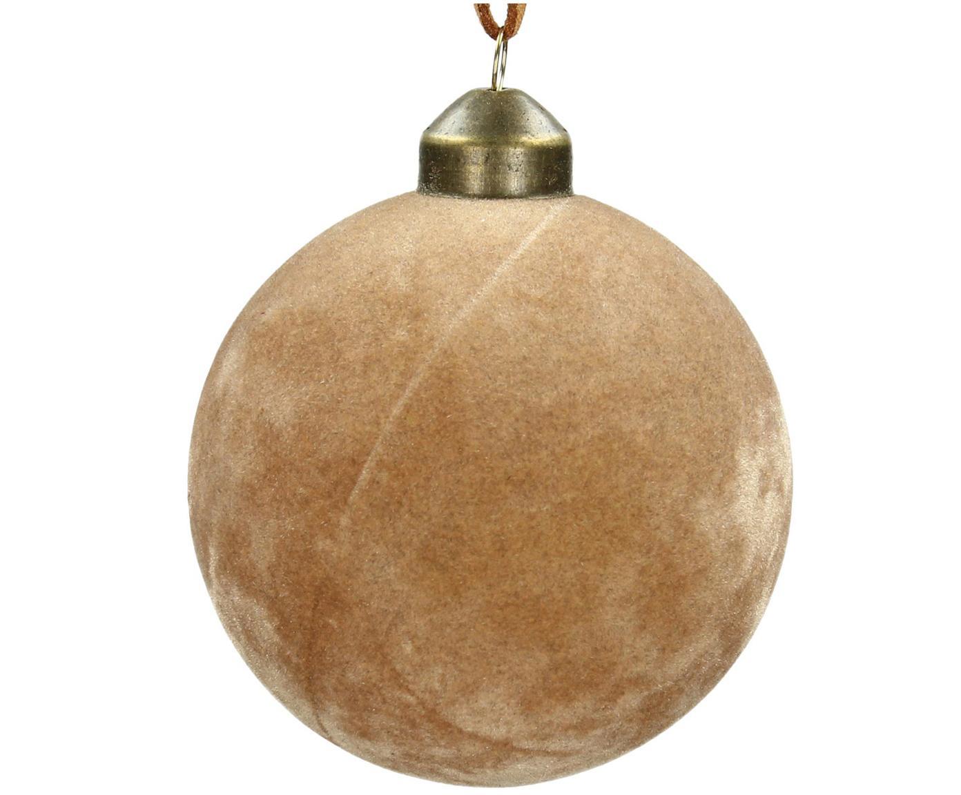 Kerstballen Velvet, 4 stuks, Glas, polyesterfluweel, Lichtbruin, Ø 8 cm