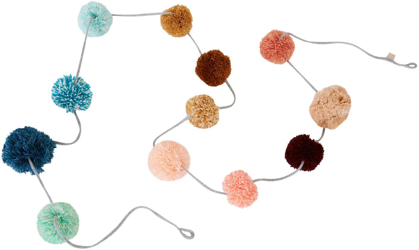 Handgefertige Girlande Pom Pom, 270 cm, Baumwolle, Mehrfarbig, Ø 8 x L 270 cm