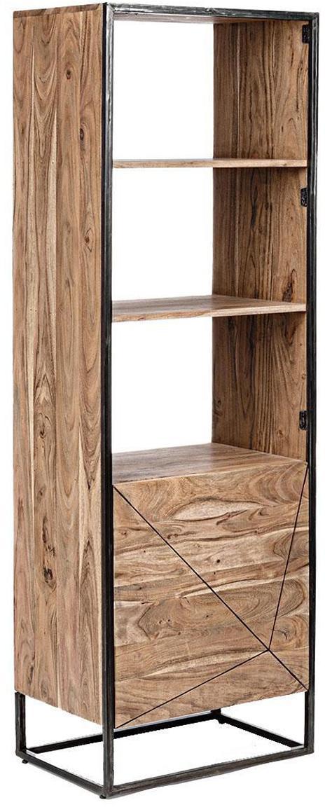 Estantería Egon, Estructura: madera de acacia con pint, Acacia, negro, An 60 x Al 180 cm