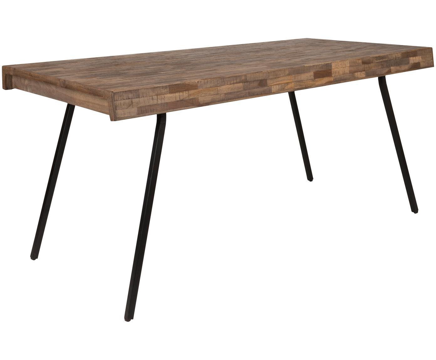 Eettafel Suri, Tafelblad: gerecycled teakhout, lich, Poten: staal, melamine bekleed, Tafelblad: Teakhout<br>Poten: Zwart, B 160 x D 78 cm