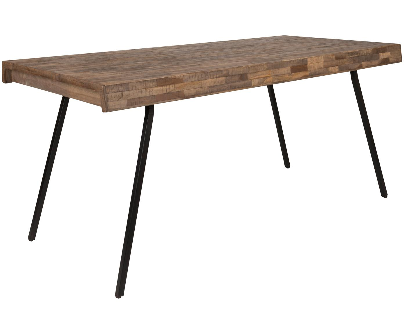 Mesa de comedor Suri, Tablero: madera de teca, lacada tr, Patas: acero recubierto de melam, Tablero: teca Patas: negro, An 160 x F 78 cm