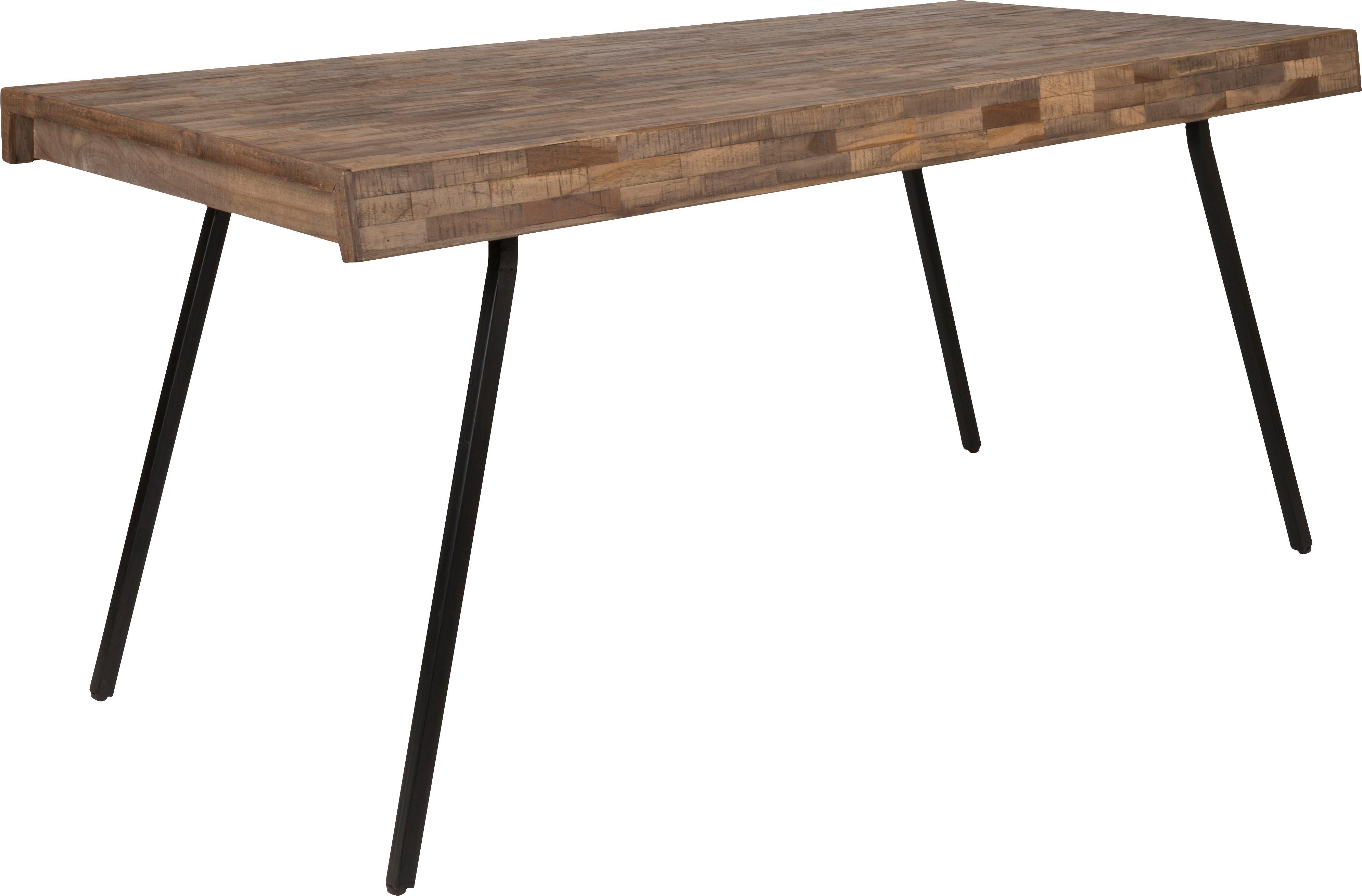 Stół do jadalni Suri, Blat: drewno tekowe pochodzące , Nogi: stal, pokryta melaminą, Blat: drewno tekowe<br>Nogi: czarny, S 160 x G 78 cm