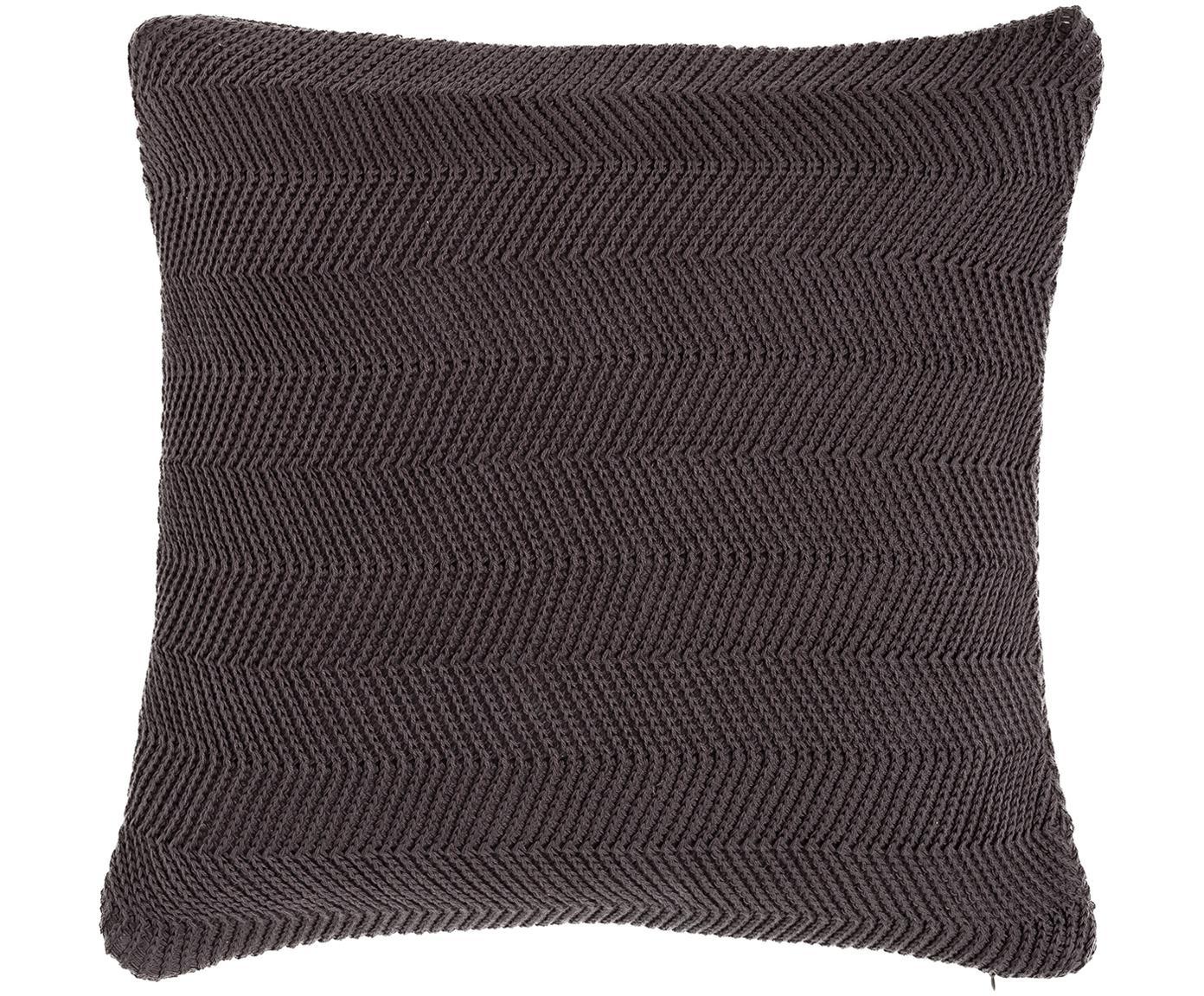 Federa arredo in cucitura a maglia Leila, 100% cotone, Grigio, P 40 x L 40 cm