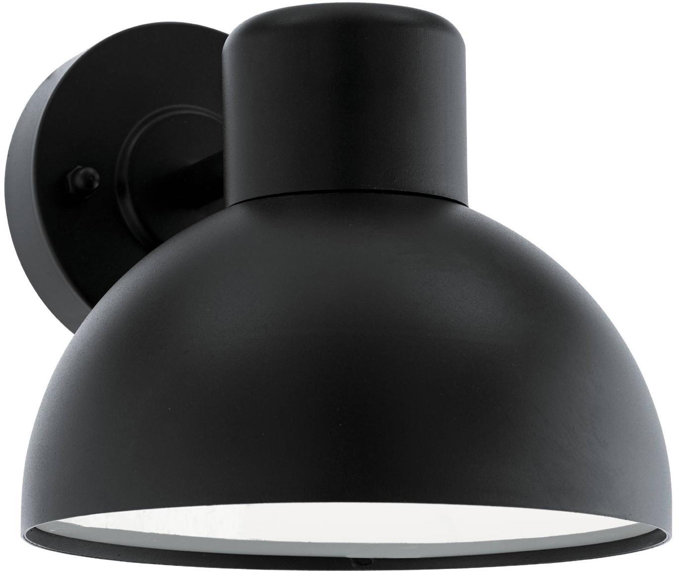 Outdoor wandlamp Entrimo, Verzinkt staal, kunststof, Zwart, 20 x 19 cm