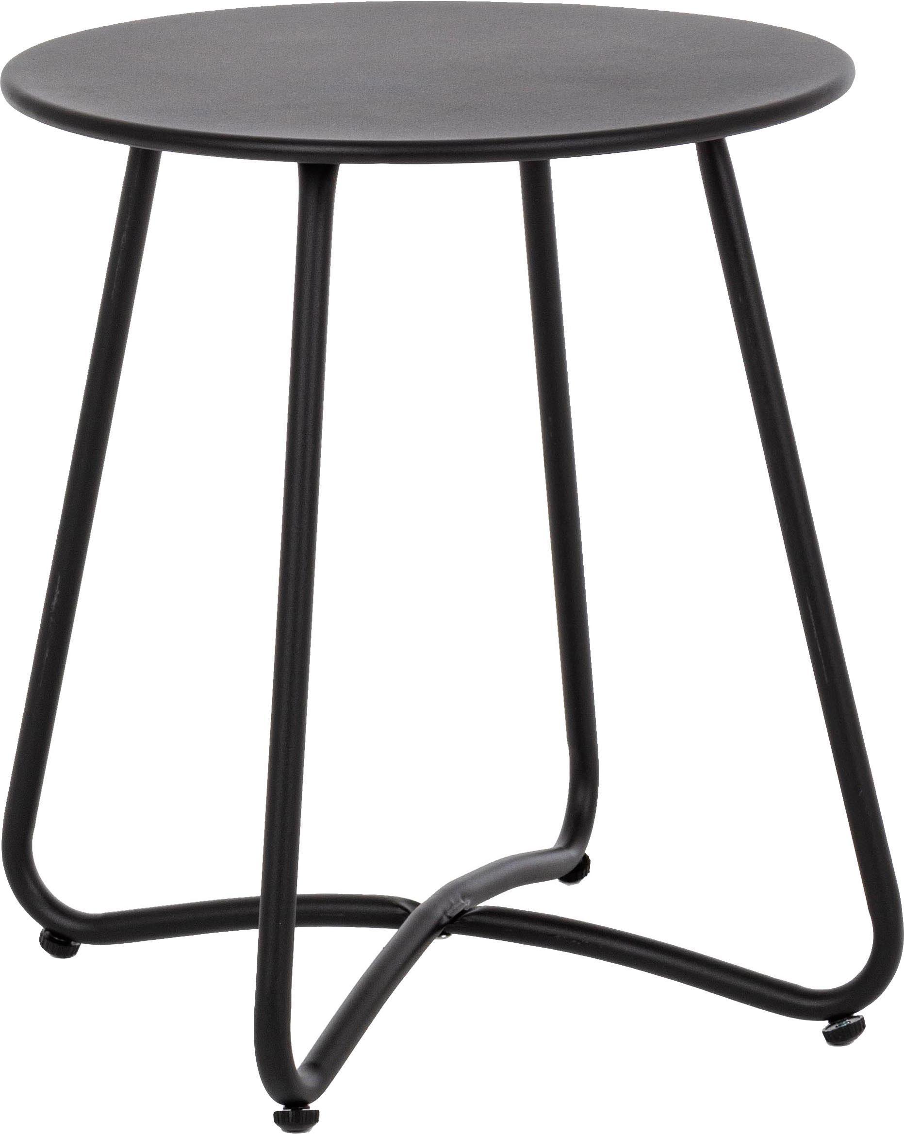 Bijzettafel Wissant, Gepoedercoat staal, Zwart, Ø 40 x H 45 cm