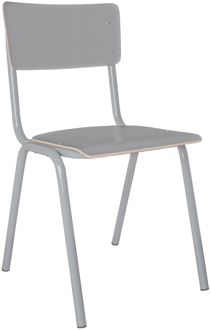 Sedia Back to School, Gambe: metallo verniciato a polv, Grigio, L 43 x P 49 cm