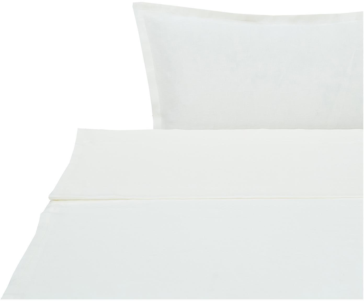 Set lenzuola in lino Soffio 3 pz, Crema, 260 x 295 cm