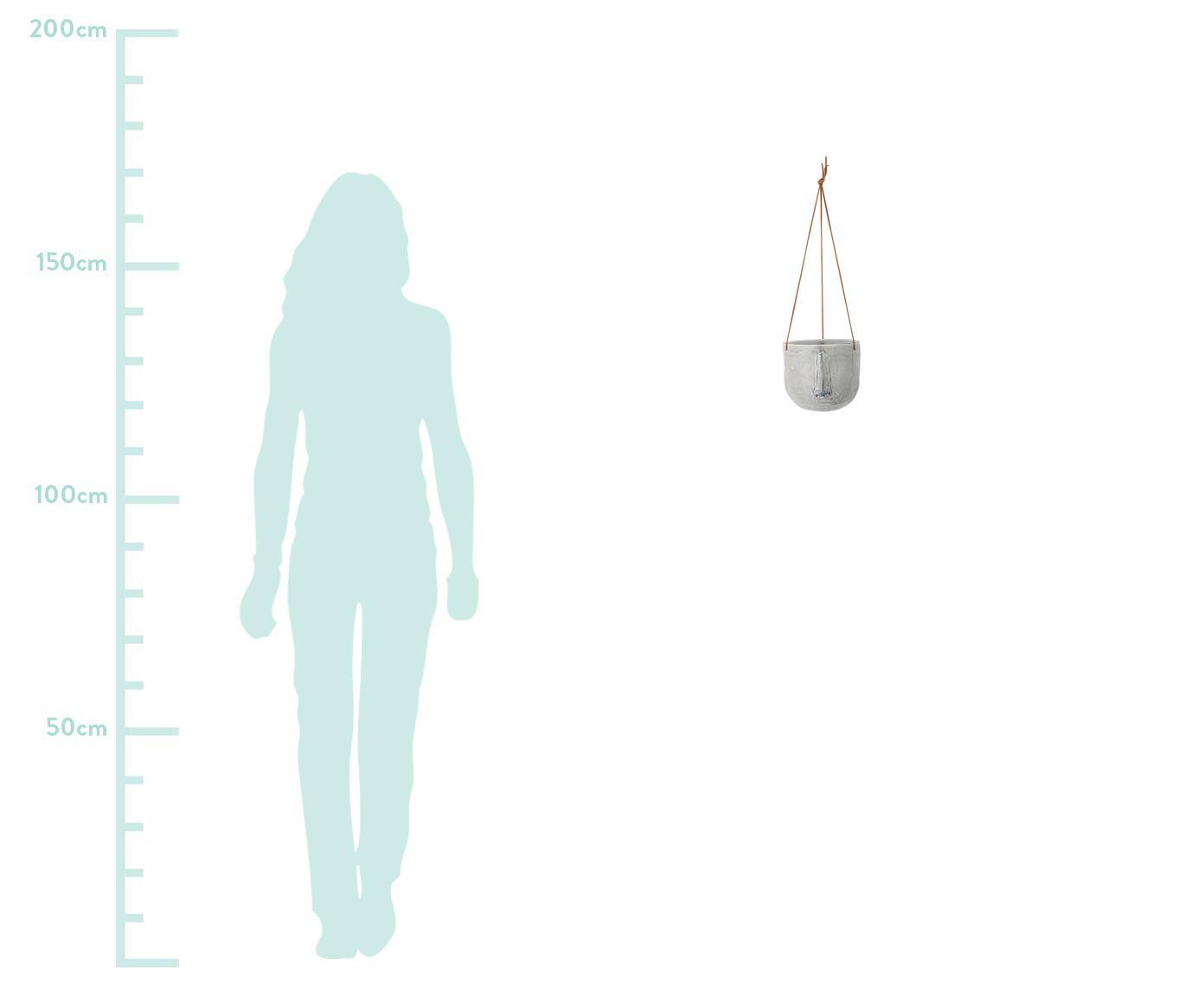 Hängender Übertopf Sama aus Steingut, Steingut, Grau, Ø 17 x H 16 cm