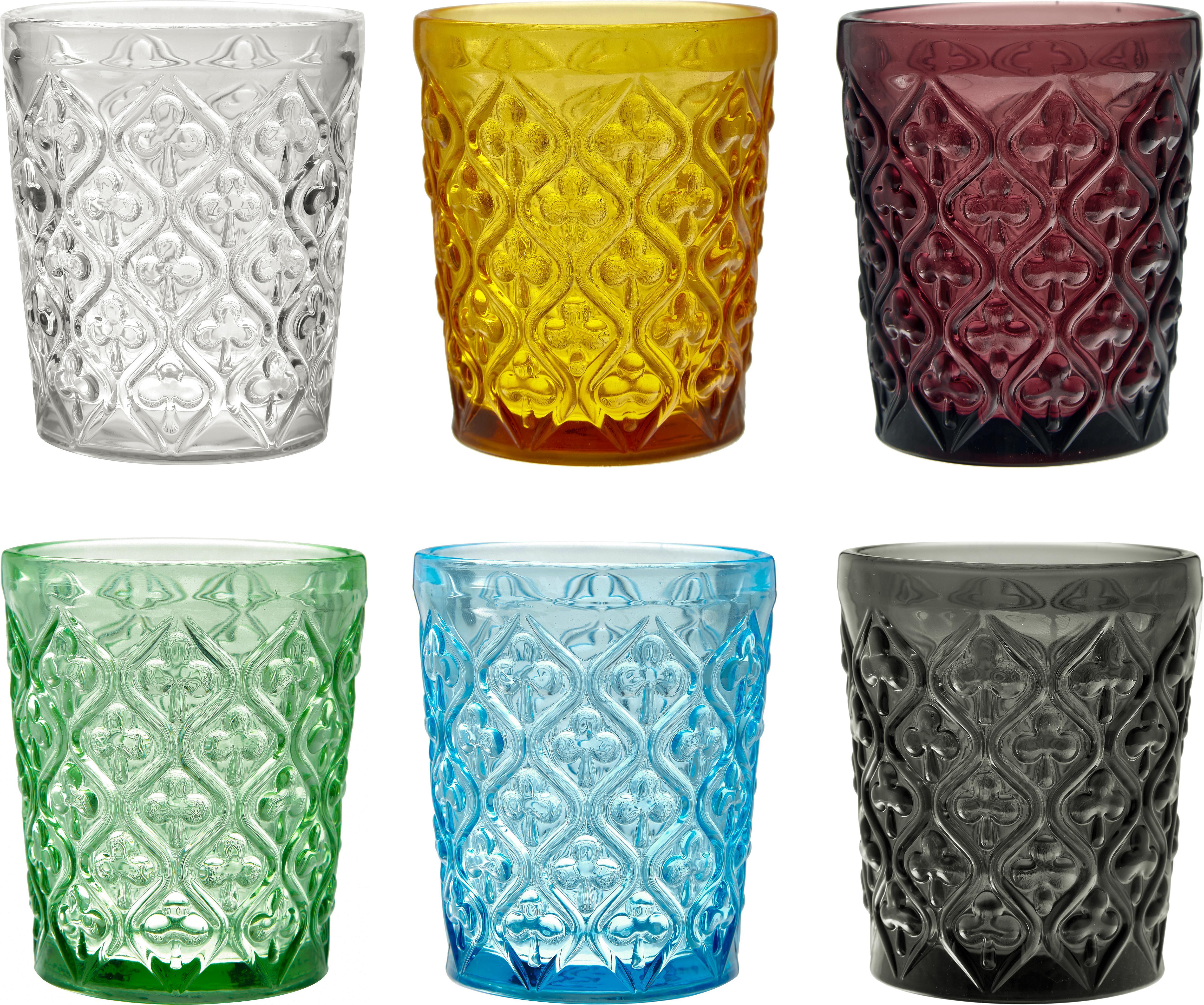 Verres à eau avec embossage décoratif Marrakech, 6élém., Bleu, lilas, gris, vert, jaune, transparent