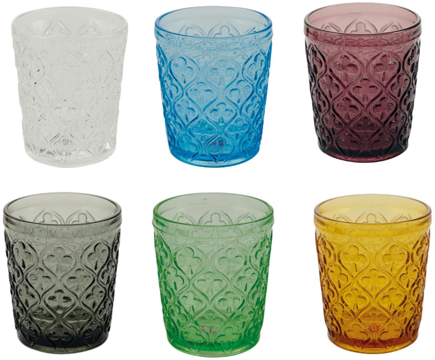 Komplet kolorowych szklanek do wody Marrakech, 6 elem., Szkło, Niebieski, purpurowy, szary, zielony, żółty, transparentny, Ø 8 x W 10 cm