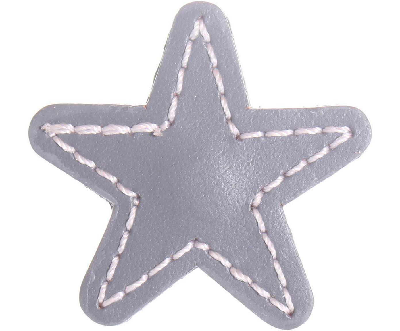 Tirador de cuero Star, Cuero, metal, Gris, An 5 x Al 5 cm