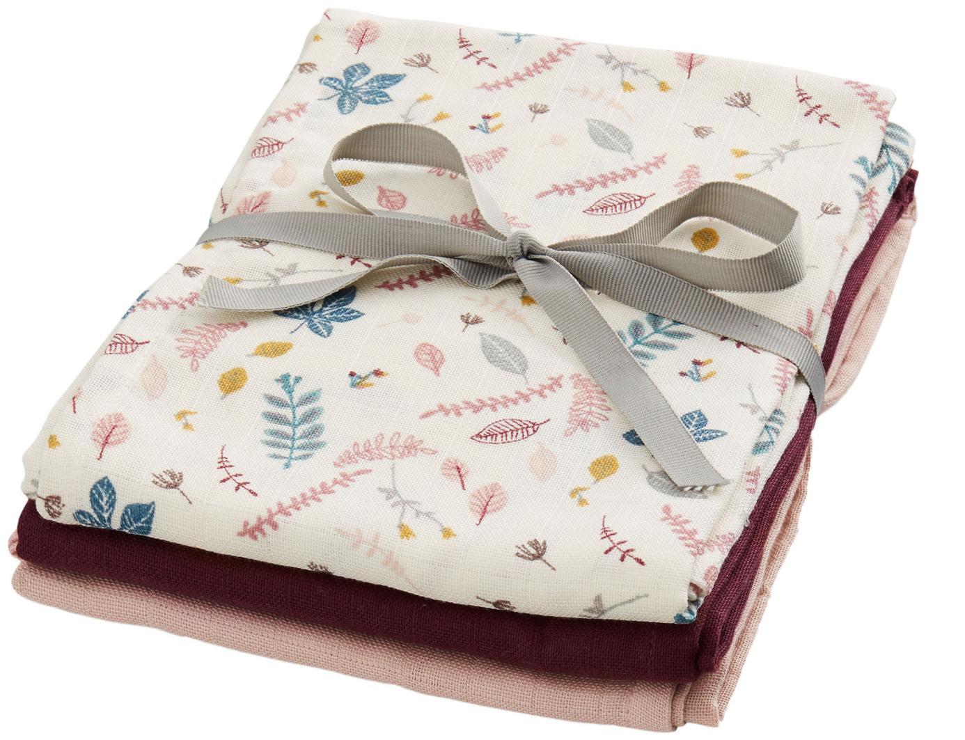 Hydrofiele doekenset Pressed Leaves, 3-delig, Organisch katoen, Crèmekleurig, roze, blauw, grijs, donkerrood, 70 x 70 cm