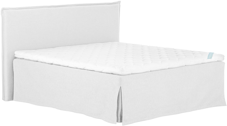 Premium Boxspringbett Violet, Matratze: 7-Zonen-Taschenfederkern , Füße: Massives Buchenholz, lack, Helles Weiß-Grau, 200 x 200 cm