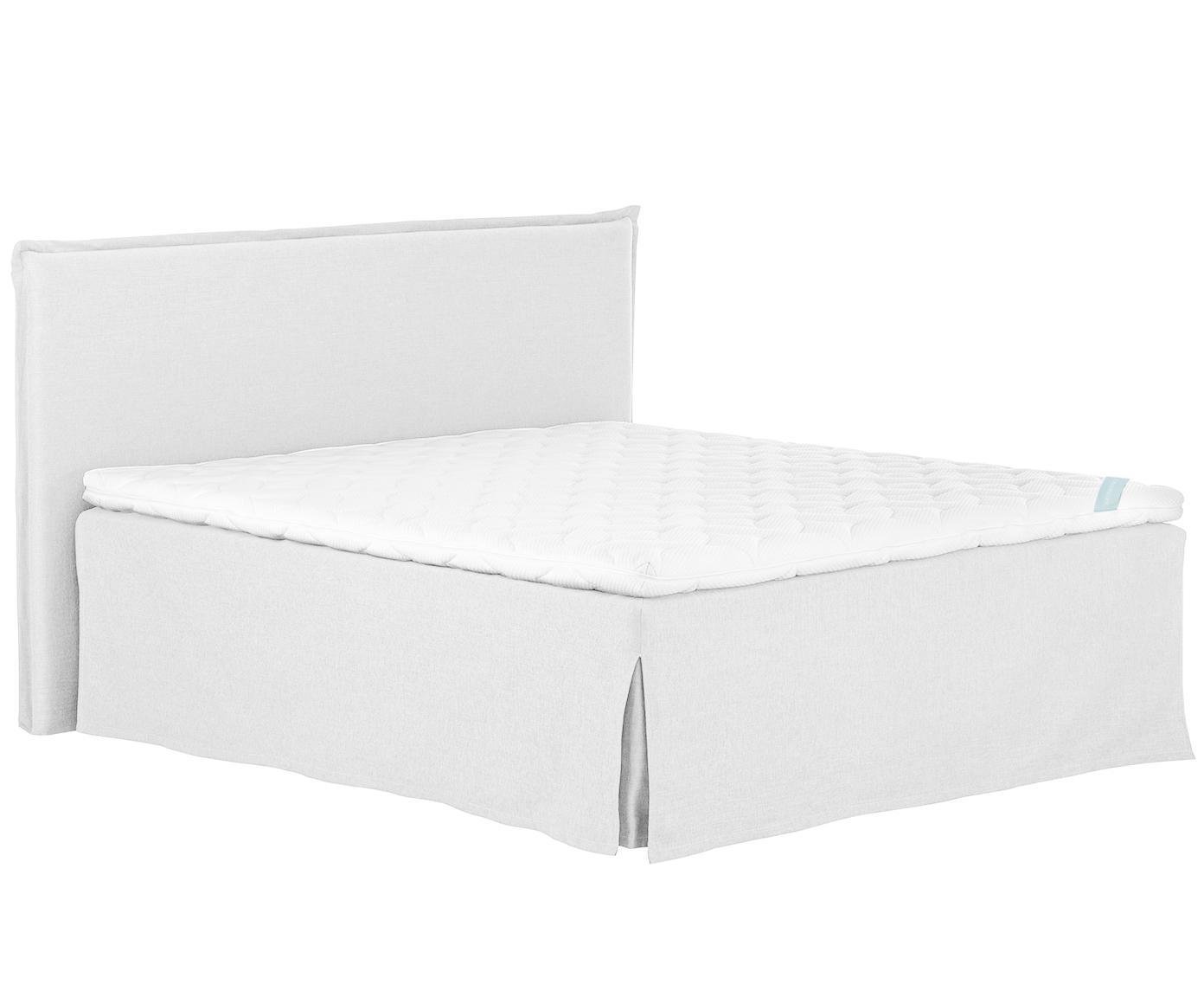 Premium boxspring bed Violet, Matras: 7-zones-pocketveringkern , Poten: massief gelakt beukenhout, Licht witgrijs, 200 x 200 cm