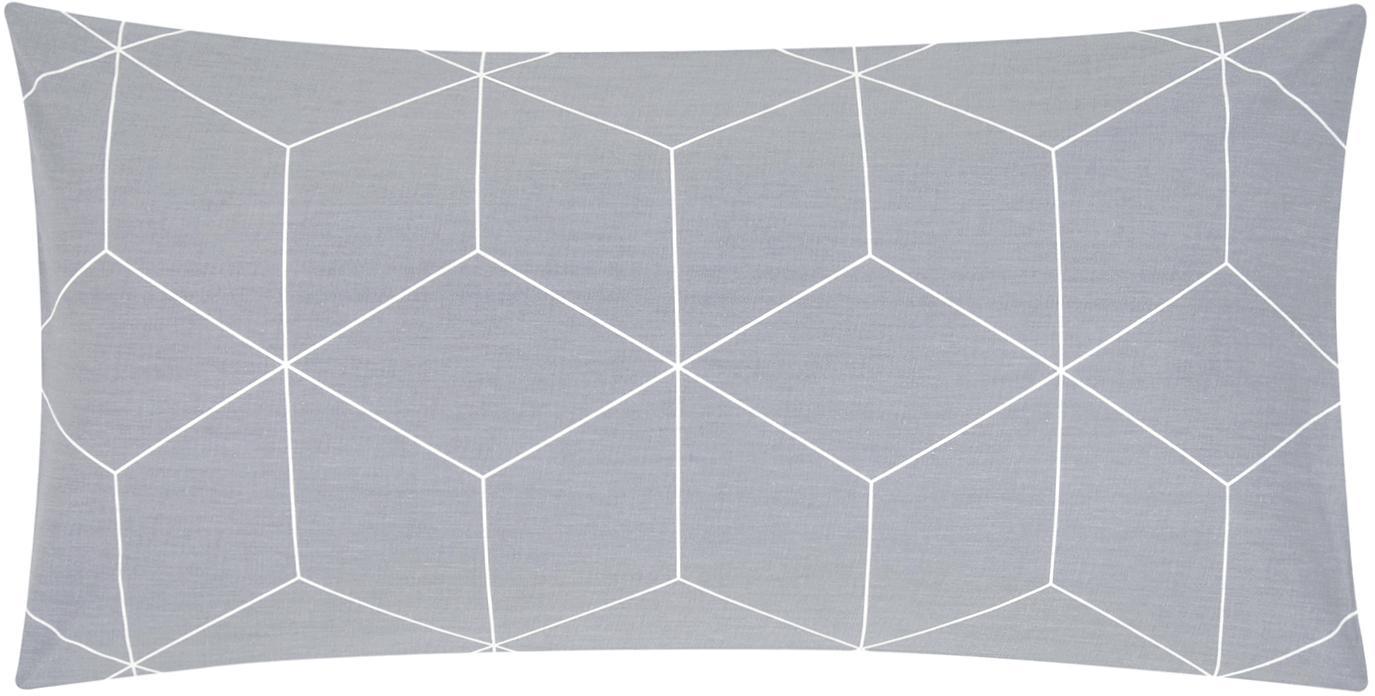 Funda de almohada de tejido renforcé Lynn, Gris, blanco crema, An 45 x L 85 cm