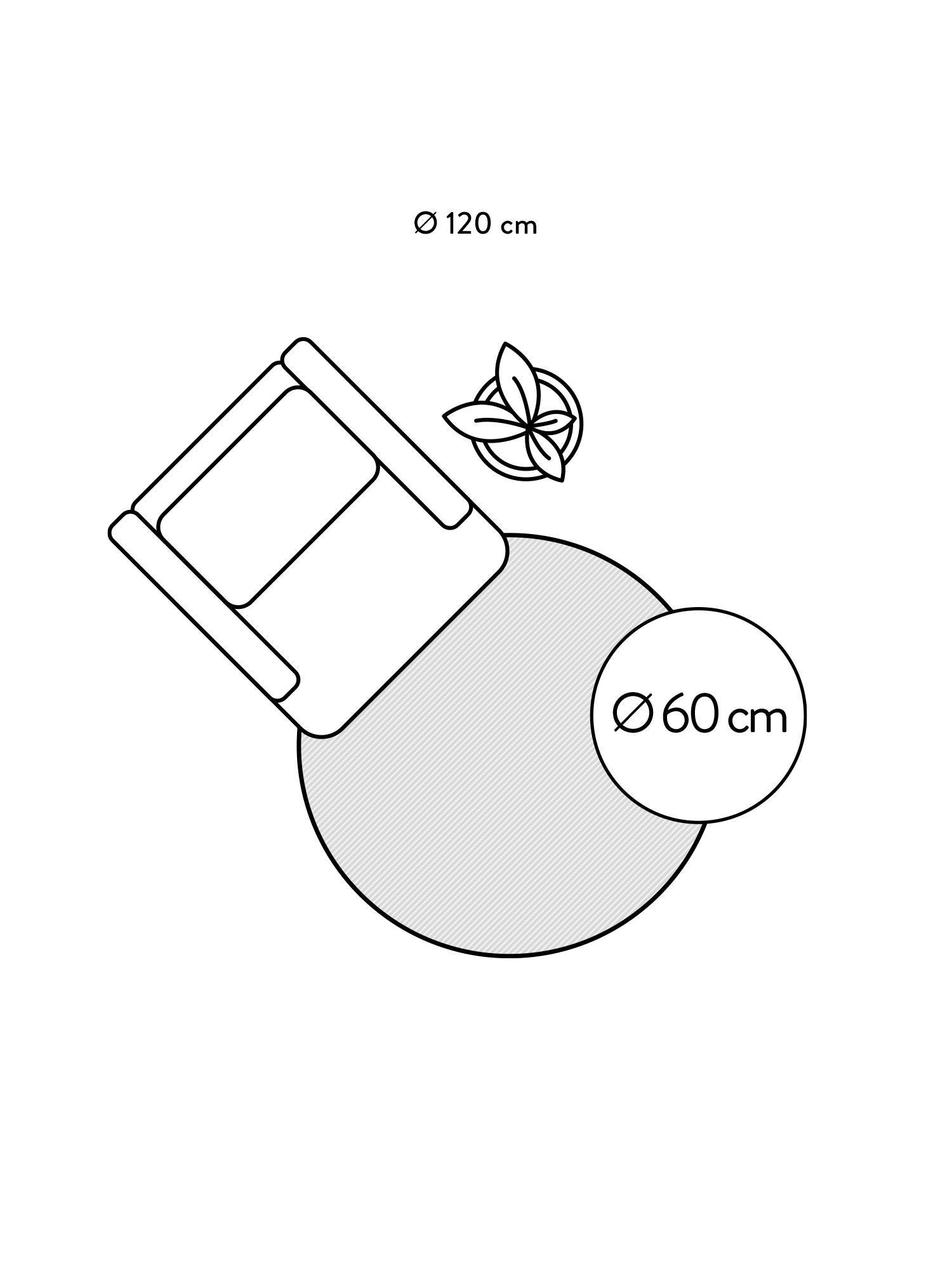 Rond handgeweven viscose vloerkleed Jane in ivoorkleur, Bovenzijde: 100% viscose, Onderzijde: 100% katoen, Ivoorkleurig, Ø 200 cm (maat L)