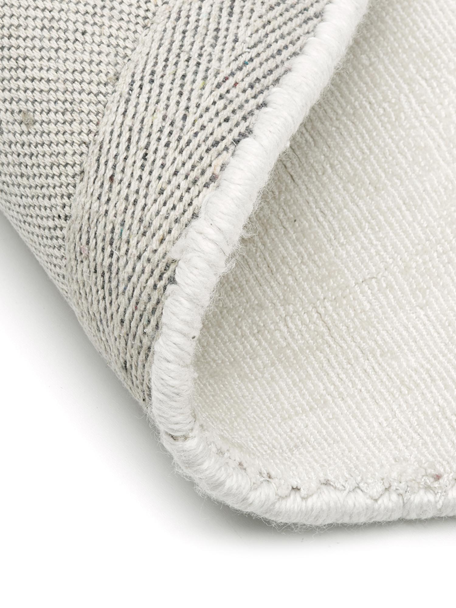 Tappeto rotondo in viscosa tessuto a mano Jane, Retro: 100% cotone, Avorio, Ø 200 cm (taglia L)